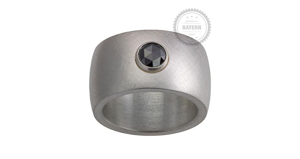 Ring 925er Silber, Diamantrose schwarz, 0,39ct
