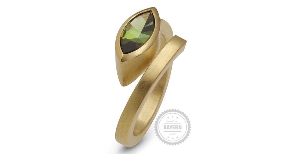 Ring 750er Gelbgold, Turmalin-Navette